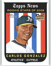 2008 Topps Heritage High Number #578 Carlos Gonzalez (RC) - Oakland Athl... - $1.59