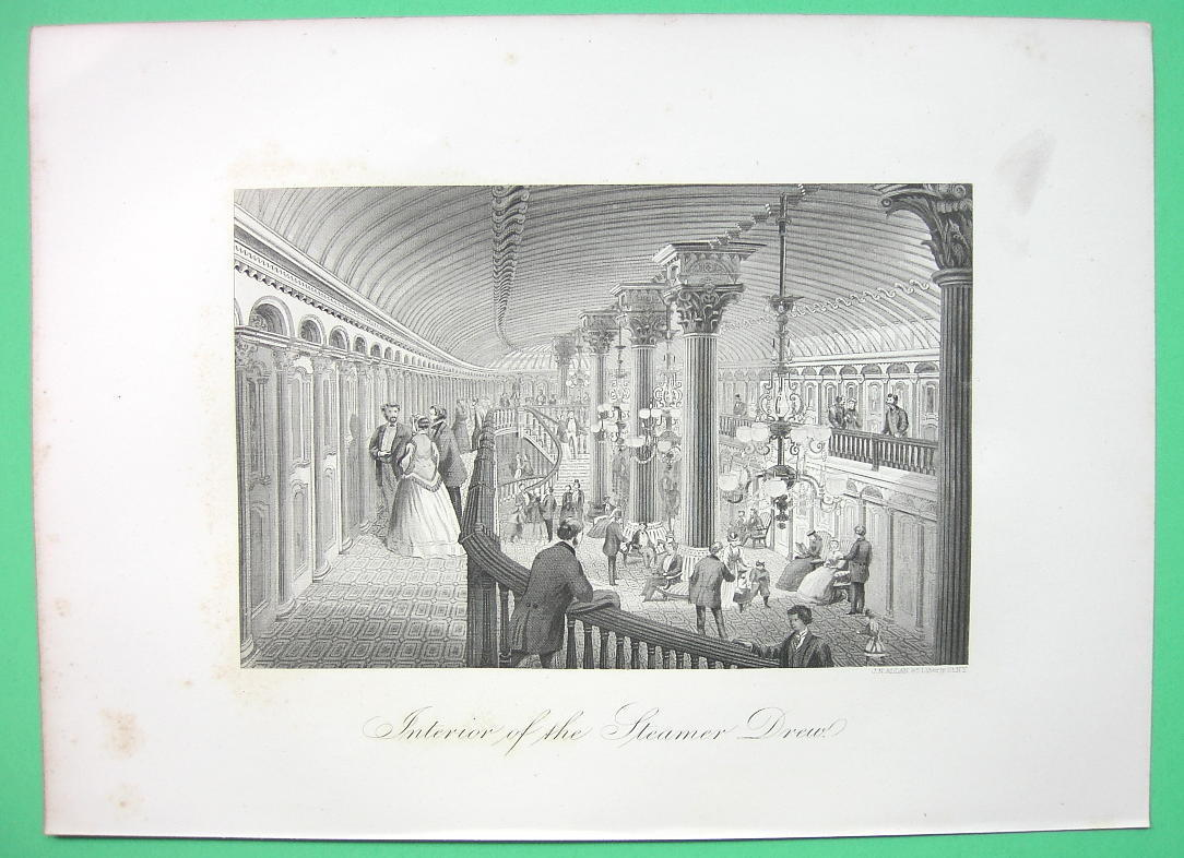 STEAM LINER Drew Luxury Interior Hall - 1876 Original Engraving Print
