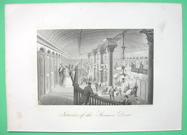 STEAM LINER Drew Luxury Interior Hall - 1876 Original Engraving Print - $22.46