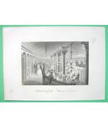 STEAM LINER Drew Luxury Interior Hall - 1876 Original Engraving Print - $22.46