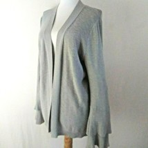J Crew Silver Gray Open Front Cardigan Sweater Tiered Bell Sleeves Size M - $13.84