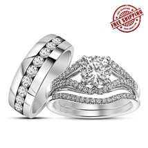 Round CZ Engagement Trio Ring Set 14k White Gold Fn. 925 Silver & Free Shipping - $179.99