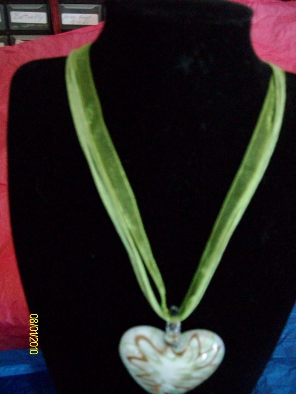 Lampwork Necklace Pale Green Whipped   Bonanza
