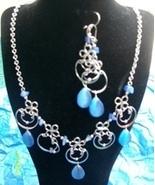 Aqua Cat's Eye Circular  Necklace & Earring (S 4) - $19.95