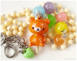 Sweet Lolita, Rilakkuma Necklace, Beaded Rosary Chain, Pastel Rainbow - ... - $35.00