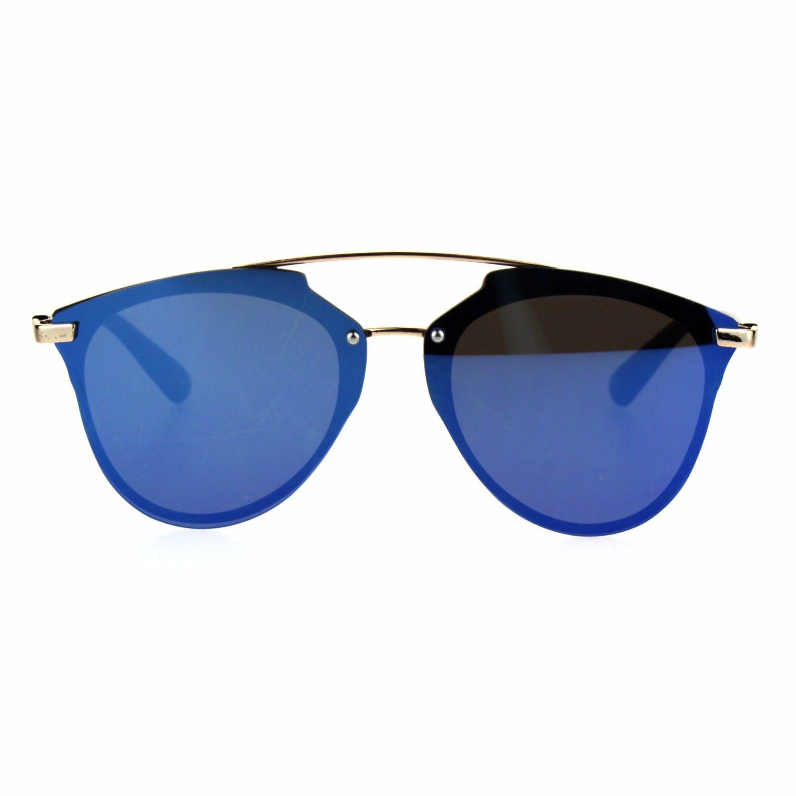 7ecec7e2d81 Unisex Color Mirror Flat Panel Horned Hipster Rimless Sunglasses