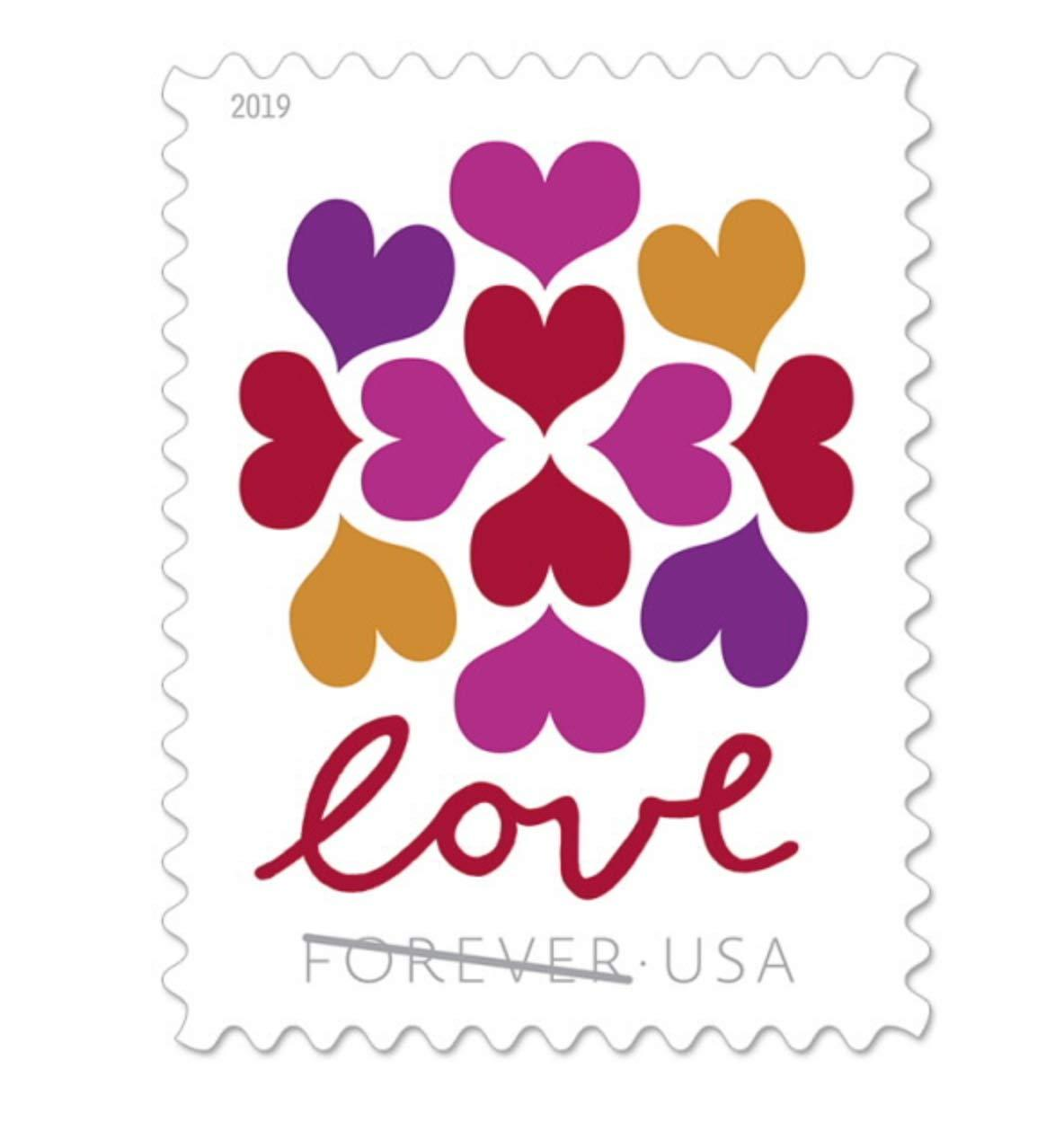 USPS Hearts Blossom Forever Stamps 2019 (1 Sheet of 20 Stamps)