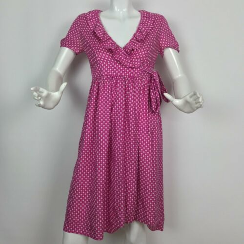 Primary image for J Crew Dress Wrap Silk Hot Pink geometrical Ruffled casual career size 2