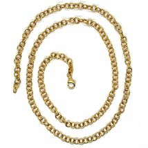 18K YELLOW GOLD CHAIN 19.70 IN, ROUND CIRCLE ROLO LINK DIAMETER 4 MM MADE ITALY image 3