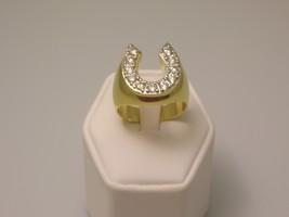 Horseshoe cubic zirconia gold mens ring  1  thumb200