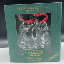 MARQUIS WATERFORD CHRISTMAS ORNAMENT noahs ark series monkeys two by gla... - $33.66