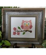 Pink Owl On Branch cross stitch chart Cherry Hill Stitchery - $5.40