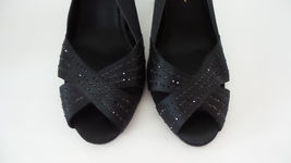 Slingback Black Studded of Bride Mother Womans Formal Satin 6M Shoes Nina qCF1Ywg