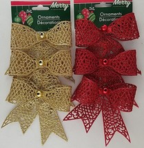 Christmas Ornaments Glitter Bows Mica w Loops 3 Ct/Pk  SELECT: Gold or Red - $2.99