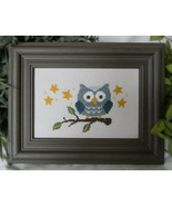 Blue Owl On Branch cross stitch chart Cherry Hill Stitchery - $5.40