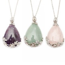 ZHEPIN Carved Flower Necklace Teardrop Necklace Crystal (Amethyst Rose G... - $28.05