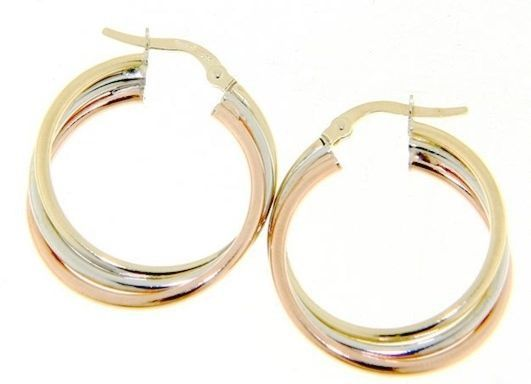 18K YELLOW WHITE ROSE GOLD HOOP EARRINGS DIAMETER 20 MM x 5 MM MADE IN ITALY