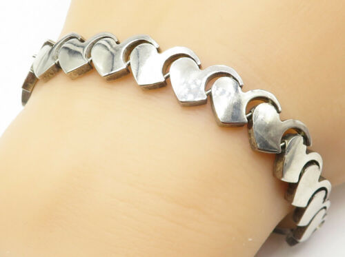 MEXICO 925 Silver - Vintage Smooth Love Heart Linked Chain Bracelet - B4968