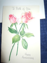 Vintage Small To Both Of You Happy Anniversary  Roses Card Unused - $3.99