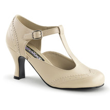 Sexy Cream Vintage T-Strap Spectators 20's Costume Pumps Heels Shoes FLA... - $45.95