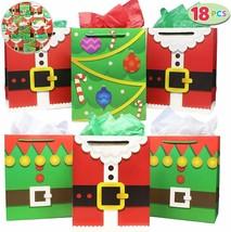 Christmas Goody Bags 18 Xmas Kids Favor Santa Bags Paper Treat Box Stude... - $29.02
