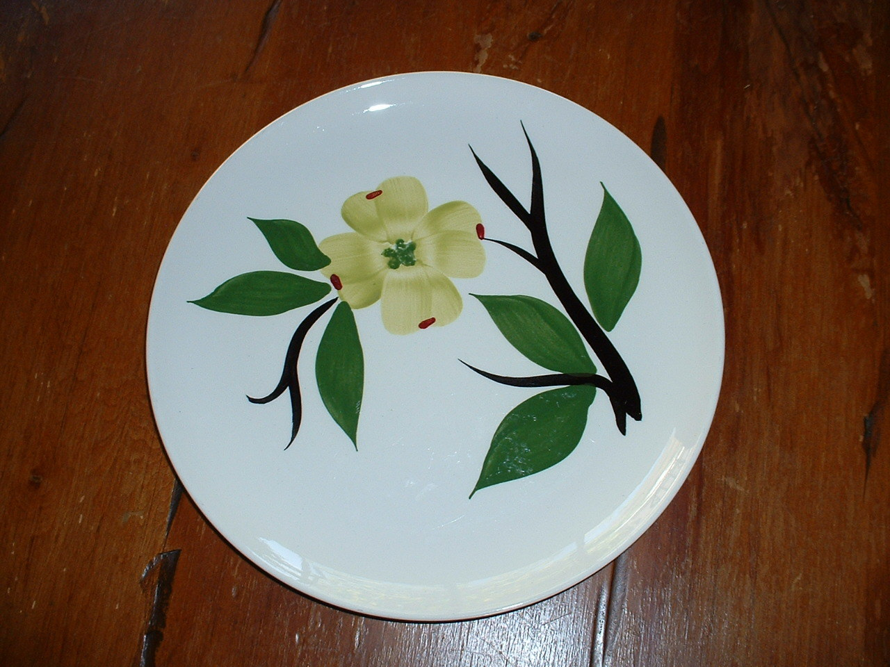 Franciscan Madeira Tan Green Floral Flowers Green Band on Rim Brown Salad Plate