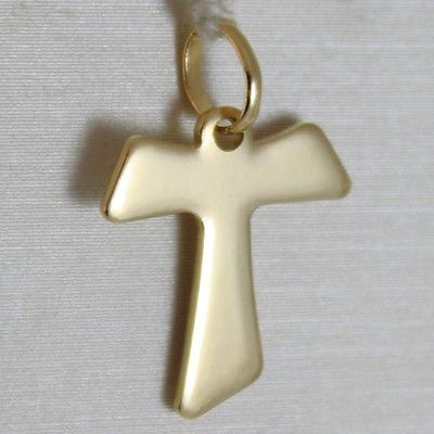 18K YELLOW GOLD CROSS, FRANCISCAN TAU TAO, SAINT FRANCIS, 2.0 CM, MADE IN ITALY