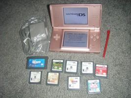 Nintendo DS Lite METALLIC ROSE PINK Handheld System Console and Lot 9 Ga... - $52.80