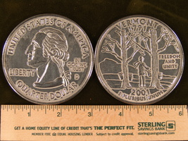 """Big 3"""" Inch Metal Coin Replica of a 2001 Vermont State Quarter - $6.75"""