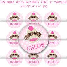 Editable - Sock Monkey Girl Pink Polka dot Bottle Cap Digital Images Set... - $3.00