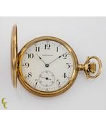 Waltham Full Hunter 14k Yellow Gold Pocket Watch 15 Jewel Size 12 Gr 220... - $1,088.99