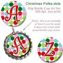 Christmas Polka dot Bottle Cap Digital Images 1 Inch Circle Alphabet Alp... - $2.00