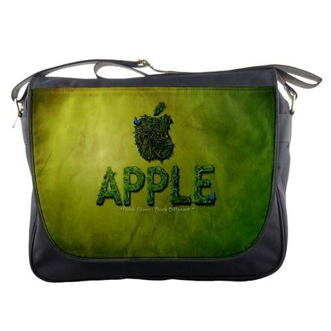 Mb2419 messenger bag apple logo in nature green grass design for