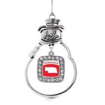 Inspired Silver Nebraska Outline Classic Snowman Holiday Christmas Tree Ornament - $14.69