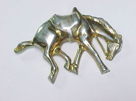 HORSE Vintage STERLING BROOCH Pin - Raised Dimensional Design - 3.25 inches - $70.00