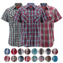 Rodeo Clothing Men's Western Cowboy Pearl Snap Button Short Sleeve Plaid Shirt