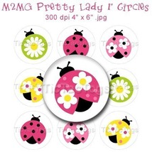 M2MG Pretty Lady Ladybug Bottle Cap Images Digital 1 Inch Circles Flower... - $2.00