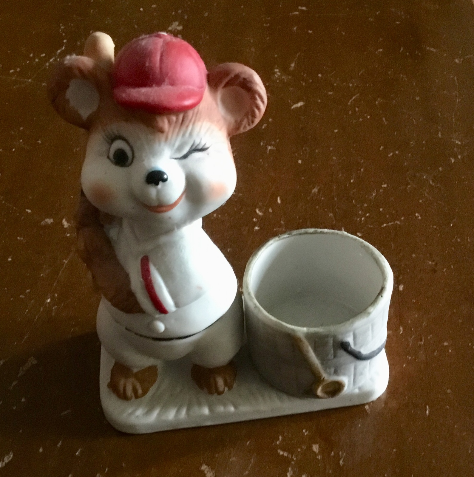 Luvkin Critters BASEBALL Candle Holder Hand Painted Porcelain by Jasco 1979 - $7.77
