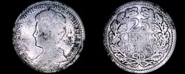 1918 Netherlands 25 Cent World Silver Coin - Wilhelmina I - $8.75