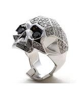 New Cool Men's Biker,Fancy Skull Ring Diamond 10k White Gold Plated 925 ... - $98.01