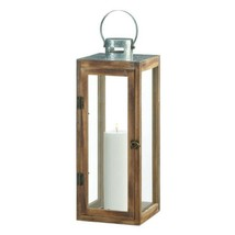 Large Square Wooden Candle Lantern w/ Galvanized Metal Top, Glass Panes image 2