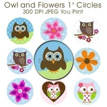 Cute Owls and Flowers Bottle Cap Digital Images1 Inch Circles Brown Blue... - $2.00