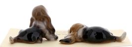 Hagen-Renaker Miniature Ceramic Dog Figurine Basset Hound Pups Sitting and Lying image 4