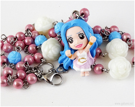 Vivi Anime Figure Necklace, Pink, Blue, Silver, Anime Jewelry, Kawaii - $33.00