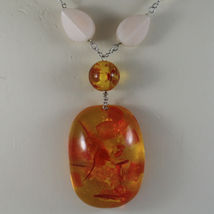 .925 SILVER RHODIUM NECKLACE WITH WHITE PEARLS, PINK JADE AND ORANGE RESIN image 3