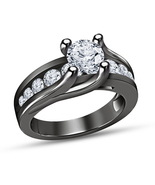 14K Black Gold Over Round Cut Diamond Women's Engagement Wedding Ring - $72.99