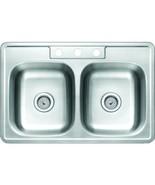 Aspen 33W X 22L X 6D Double Bowl Topmount 3-Hole 22G Stainless Steel Sink - $99.99