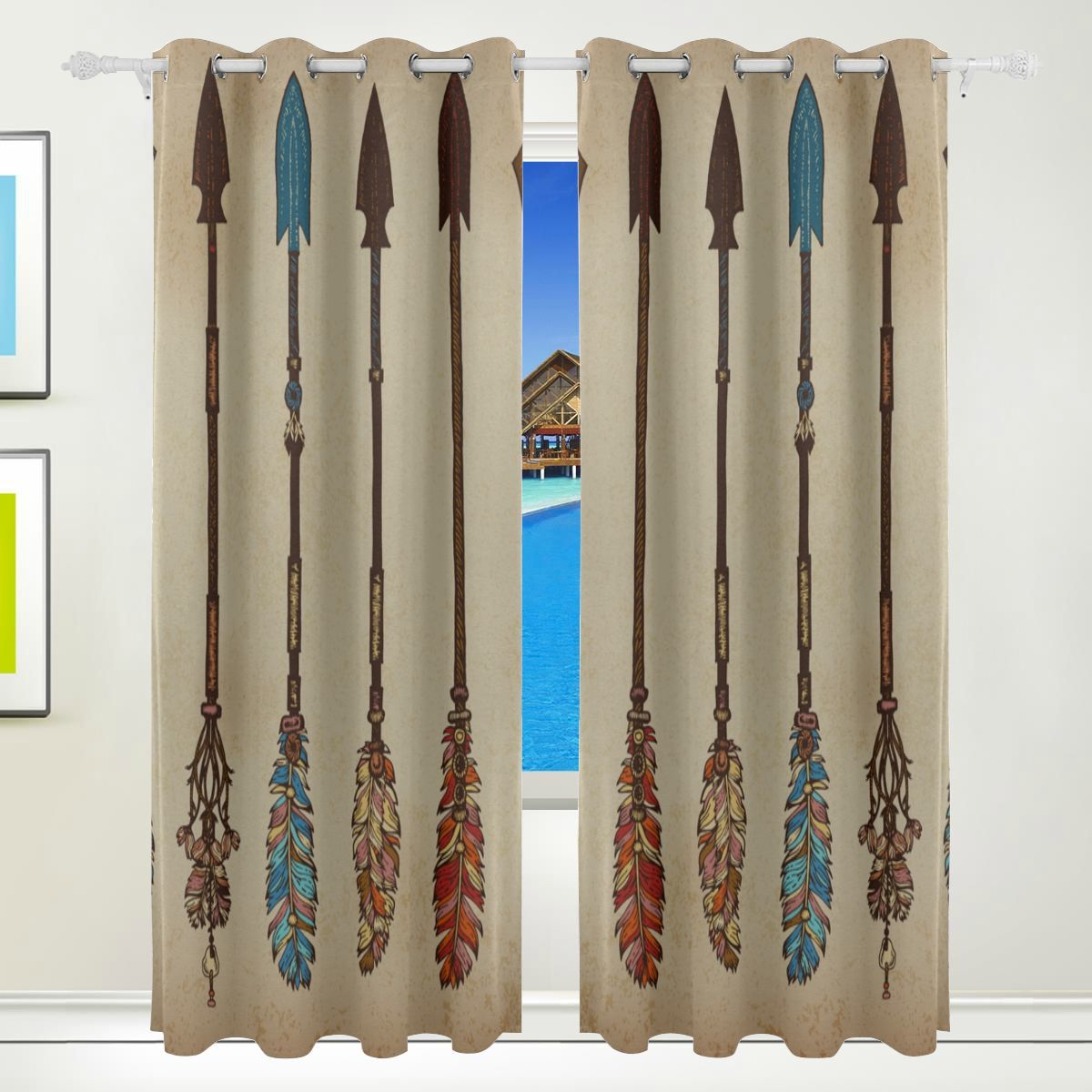 Print Curtains For Bedroom Ethnic Colorful Arrow Tribal