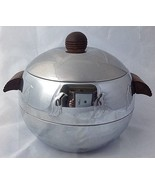 West Bend Penguin Hot Cold Server Ice Bucket Insulated Chrome Mid Century - $34.95