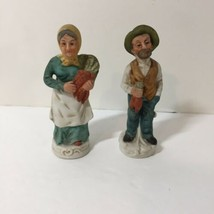 "Old Farmer and Wife Figurines Marked Taiwan 4.5"" tall  - $9.74"